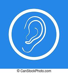 Ear icon. Medical symbol of human organ. Deaf and sound