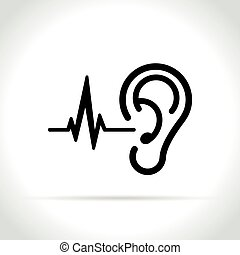 ear icon on white background - Illustration of ear icon on...