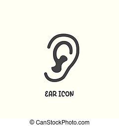 Ear icon simple flat style vector illustration.