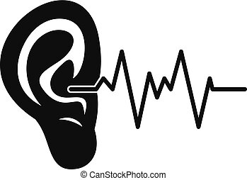 Ear icon, simple style - Ear icon. Simple illustration of...