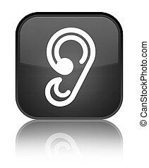 Ear icon special black square button