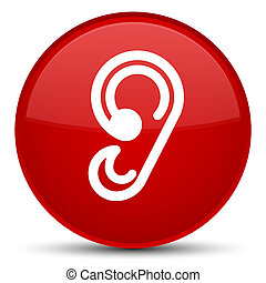 Ear icon special red round button