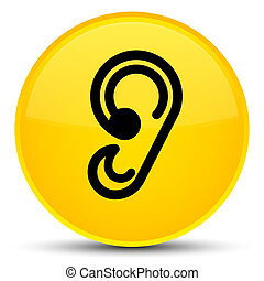 Ear icon special yellow round button