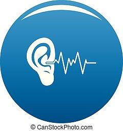 Ear icon vector blue - Ear icon. Simple illustration of ear...