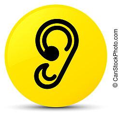 Ear icon yellow round button