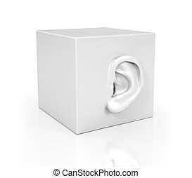 Ear in the form of a cube.