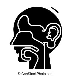 ear, nose, and throat - ent icon, vector illustration, black sign on isolated background