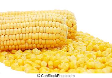 Ears of fresh corn and tinned corn