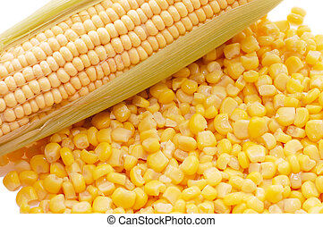 Ear of fresh corn and tinned corn