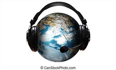 Ear Phones and ear Piece around a Globe - Higly Detailed Ear...