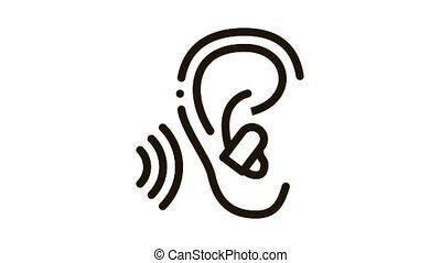 Ear Plug For Sleeping Icon Animation. black Ear Plug For Sleeping animated icon on white background