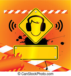 ear protection must be worn background - vector illustration