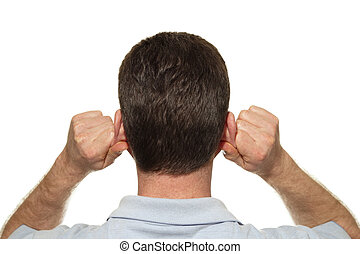 Caucasian man seen from the back self massaging both of his ears with his hands at the same time with reflexology in front of a white background.