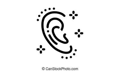 ear shape change Icon Animation. black ear shape change animated icon on white background