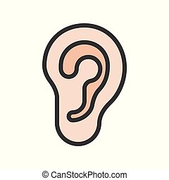 ear simple filled outline icon, organ set