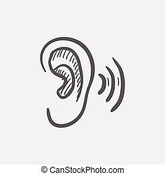 Ear sketch icon for web and mobile. Hand drawn vector dark grey icon on light grey background.