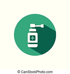 Ear spray icon with shadow on a green circle. Vector pharmacy illustration
