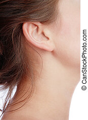 Ear - Close-up shot of young woman\\\'s neck and ear