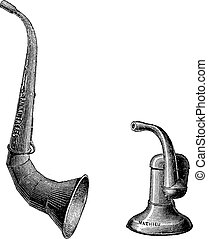 Ear trumpets, vintage engraving. - Ear trumpets, vintage ...