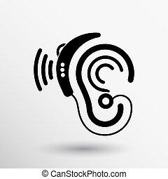 Ear vector icon hearing aid ear listen sound graphics.