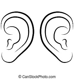 Ear, vector illustration on a white background