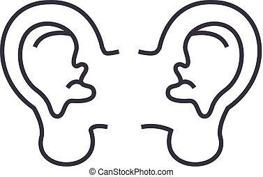 ear vector line icon, sign, illustration on background,...