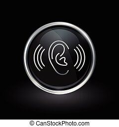 Hearing volume symbol with ear icon inside round chrome silver and black button emblem on black background. Vector illustration.