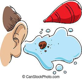 Ear Wax Flush - A cartoon ball of ear wax, flushed out by a...