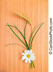 ear  wheat with chamomile and grass on wood texture