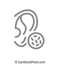 Ear with bacteria line icon. Disease hearing organ, infectious ear disease, otitis symbol and sign illustration design. Isolated on white background