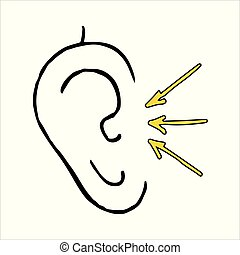 Ear with sound waves hand drawn doodle icon