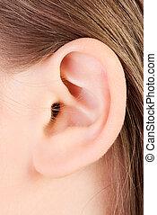 Ear - Young caucasian woman ear closeup.