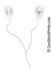 Earbuds - 3D Illustration. Isolated on white.