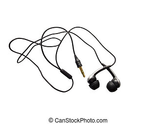 Earbuds - Black earbuds isolated on a white background