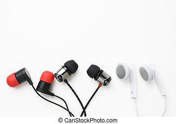 earbuds on white background