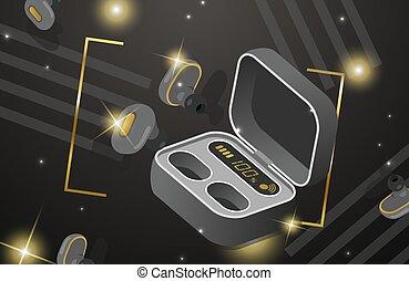 earbuds, radio, fall, illustration, isolerat, lysande, vektor, isometric, mörk, hörlurar, bakgrund., laddning