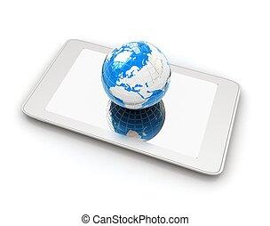 earch., internet, telefoon, globaal, concept