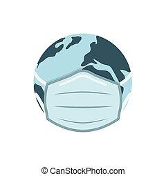 Earh globe in medical face mask vector illustration