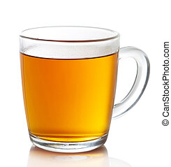 Cup of hot earl grey tea isolated on white background