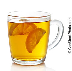 Cup of hot earl grey tea with lemon slices isolated on white background