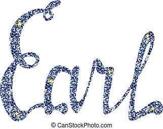 earl, letras, nombre, tinsels