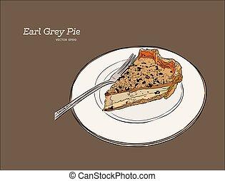 earl, pie., gráfico, té, gris, ilustración, mano, vector,...