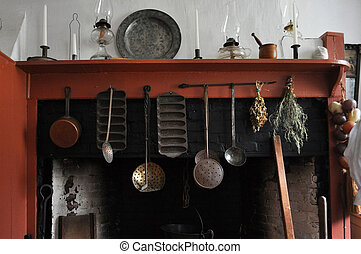 Early american kitchen mantle and hearth - Old kitchen...