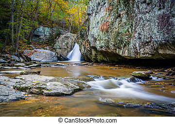 Early autumn color and Kilgore Falls, at Rocks State Park, Maryland.