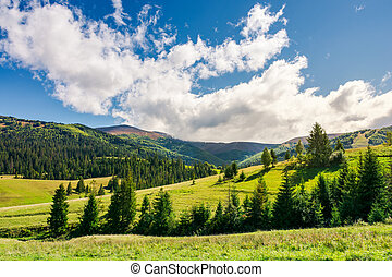 early autumn countryside in mountains. lovely landscape with...