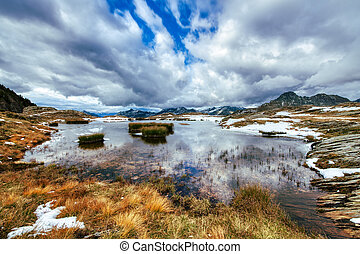 Early autumn in a small lake on the Italian Alps