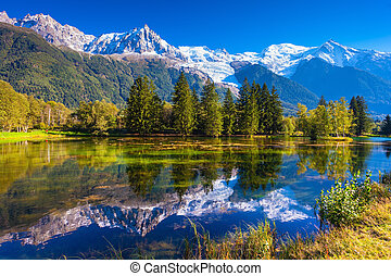 Early autumn in Chamonix, Provence. France - The lake...