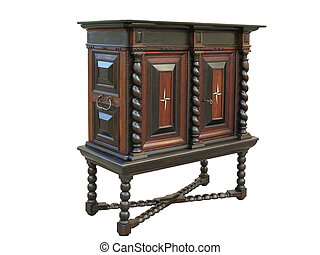 Early Baroque cabinet on stand. Cabinet made about 1670 to 1700