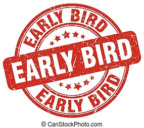 early bird red grunge stamp