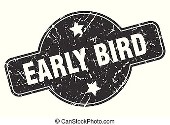 early bird round grunge isolated stamp